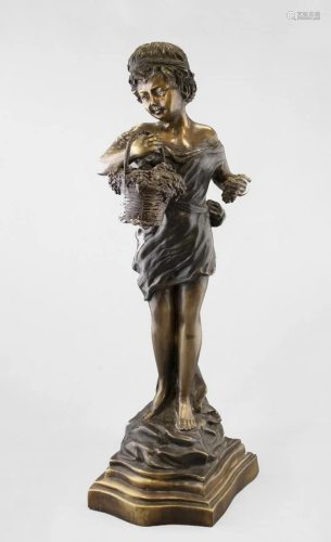 Vintage Bronze Sculpture of Child Holding Basket