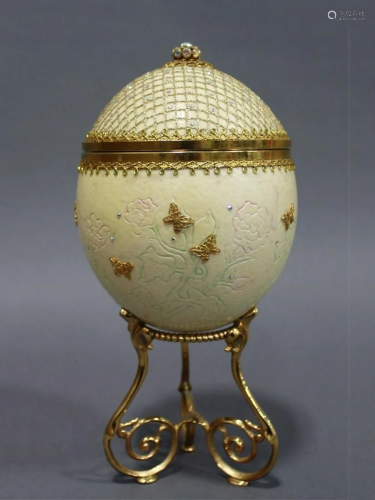 An Ostrich Egg Jewelry Box