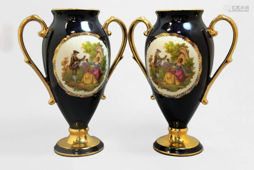 Pair of Vintage Double Handle Urns