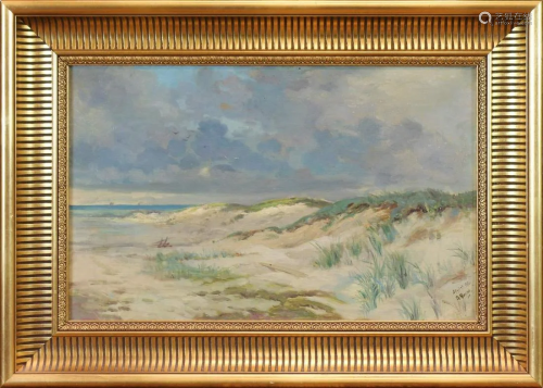 Oil on canvas, Coastal Scene