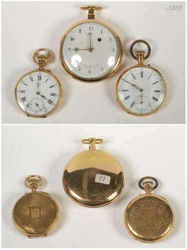 Three pocket watches in 18 carat yellow gold, one …