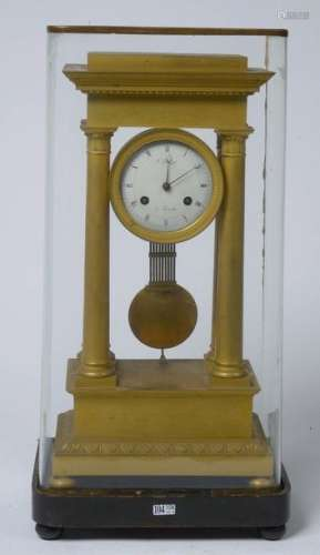 Portico clock in the Restoration style in gilded b…