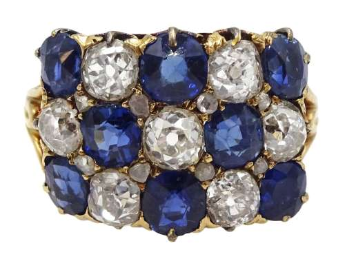 Victorian 18ct gold ring, with three rows of alternating swiss and old cut sapphires, and old cut d