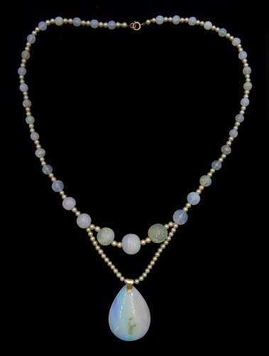 Early-mid 20th century moonstone, pearl and glass bead necklace, with gold opal pendant