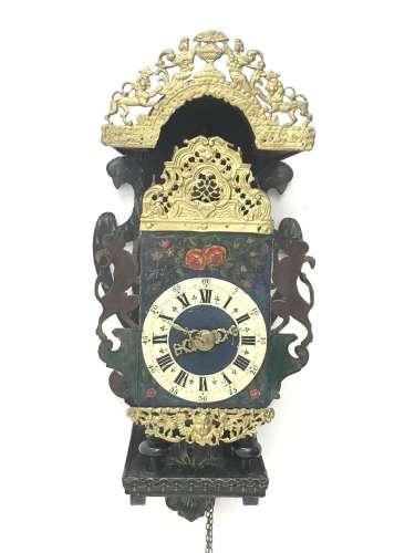 Early 19th century Dutch lantern clock with wall bracket, pierced and cast gilt metal decorative mou