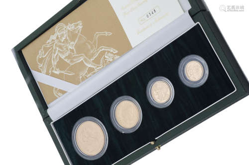 A modern Royal Mint United Kingdom Gold Proof Four Coin Sovereign Collection set, dated for 2004,