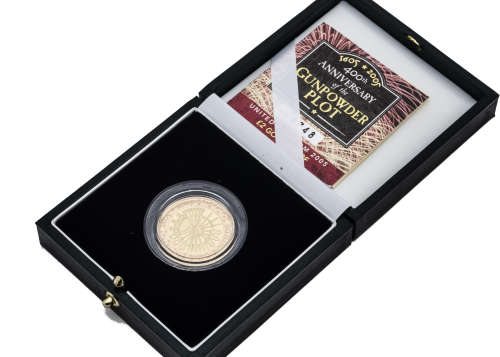 A modern Royal Mint UK £2 Gold Proof Coin, dated 2005, celebrating the 400th Anniversary of the