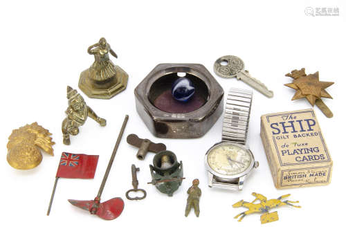A George V period silver hexagonal pocket watch holder, together with a Cyma watch, AF, two