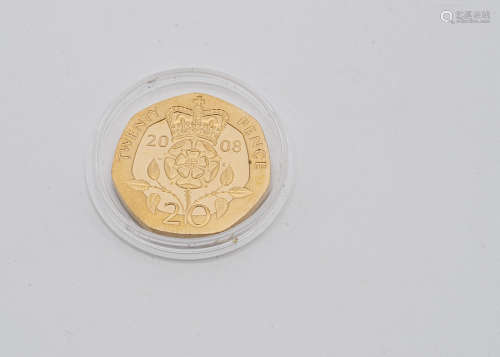 A modern Royal Mint gold twenty pence coin, dated 2008, proof like, unc, 9.8g approx
