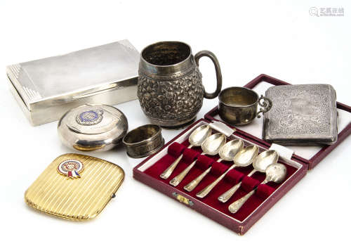 A group of silver and other ****s, including an Art Deco cigarette box, a possibly Indian silver