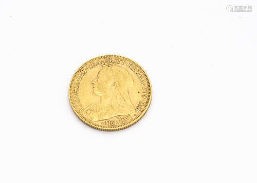 A Victorian full gold sovereign coin, dated 1894, VF