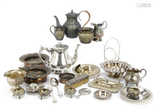 Two boxes of silver and silver plate, including a silver hand ***ror, silver filled candlestick, AF,