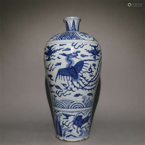 A MING DYNASTY BLUE AND WHITE PLUM VASE WITH PHOENIX PATTERN