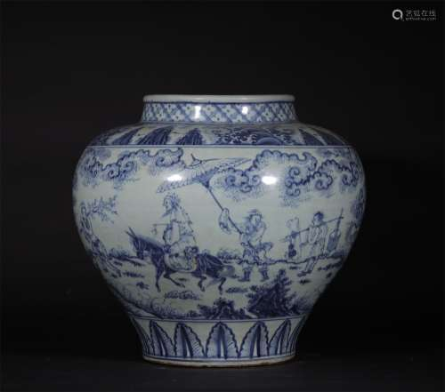 A MING DYNASTY BLUE AND WHITE FIGURE POT