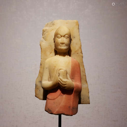 A NORTHERN WEI DYNASTY PAINTED STONE ARHATS