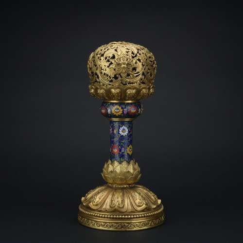 Qing dynasty cloisonne incense burner with flowers pattern