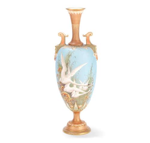 Royal Worcester vase by Charley Baldwyn, dated 1896 or 1897