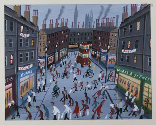 John Ormsby - Shoppers in a Busy Street, late 20th/early 21st century oil on canvas possibly