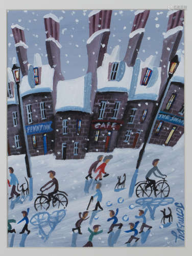 John Ormsby - Snowy Street Scene with Children having a Snowball Fight, late 20th/early 21st century
