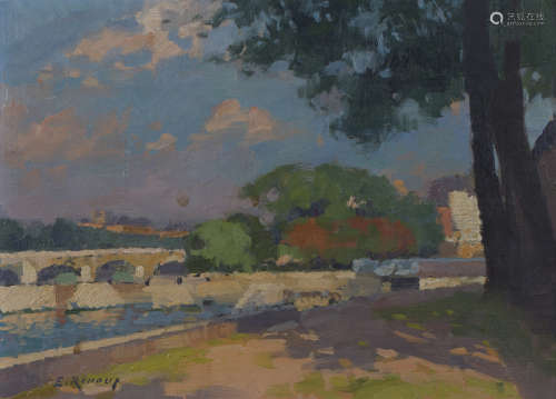 Ernest Jules Renoux - 'Le Pont Neuf et le Vert Galant', oil on panel, signed recto, titled and
