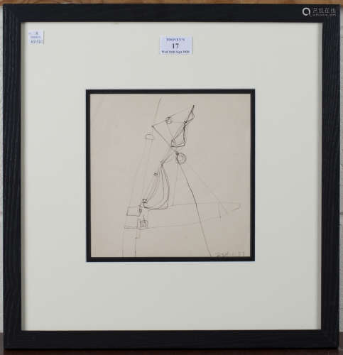 Trevor Bell - Abstract, pen and ink, signed and dated 6.57, 19cm x 19cm, within a stained wood