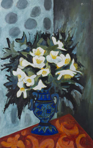 Joan Gillchrest - 'Christmas Roses', late 20th century oil on board, signed to stem of vase recto,