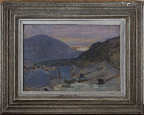 Kate Elizabeth Olver - 'Hebridean Sunset', early 20th century oil on board, artist's name and titled