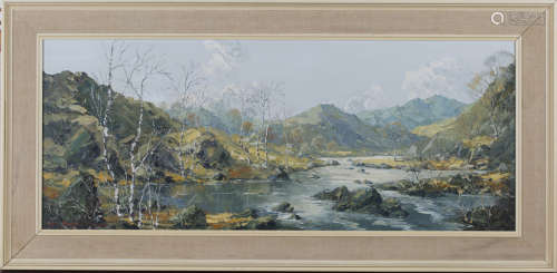 Charles Wyatt Warren - Welsh Landscape, late 20th century oil on board, signed, 36cm x 89.5cm,