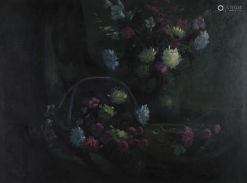 Robert Hou - Still Life with Chrysanthemums in a Basket and Vase, late 20th century oil on canvas,