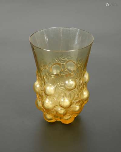 Setubal, an R. Lalique amber glass beaker,