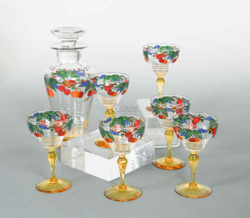 Ludwig Kny for Stuart, a Stratford shaped enamelled glass cocktail set, circa 1930,