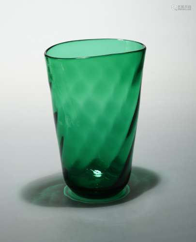 A Murano green glass vase, circa 1950s,