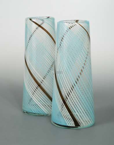 Dino Martens for Aureliano Toso (attributed), a pair of Murano mezza filigrana glass vases,