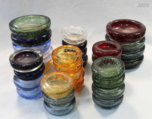 William Wilson for Whitefriars, a large collection of bubble included glass ashtrays,