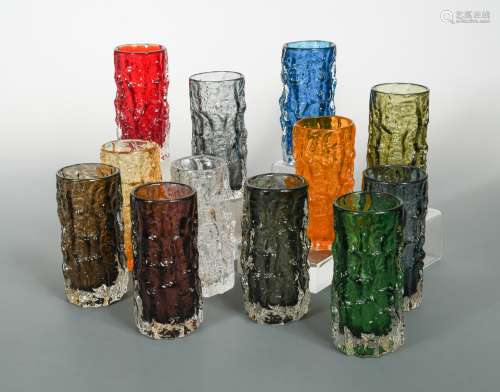 Geoffrey Baxter for Whitefriars, a collection of textured cylindrical bark vases,