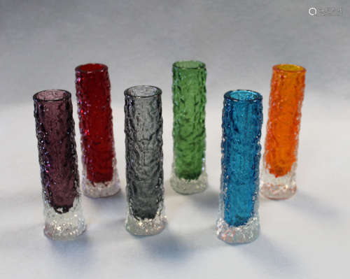 Geoffrey Baxter for Whitefriars, a collection of six textured 'finger' bark vases,