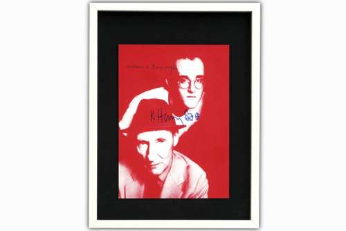 Keith Haring and William Burroughs handsigned invitation for