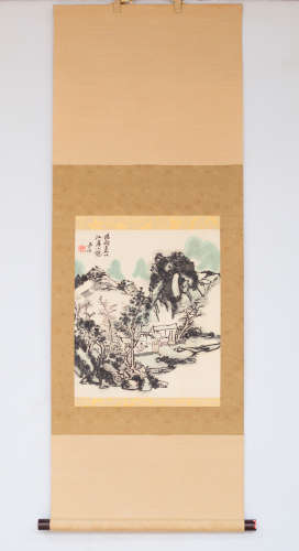 Chinese scroll painting of figure and landscape