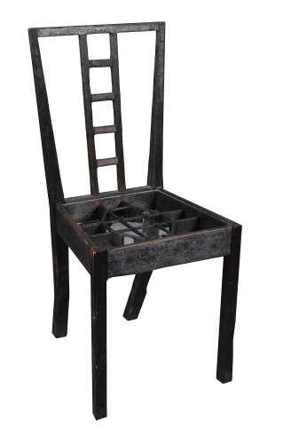 λ Langlands & Bell (20th century) , Chair seat inset with floor plan of St. Barts Hospital