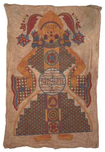 A large Jain cosmological diagram (Lokapurusha) of the Cosmic Man, Rajasthan, early 20th century,