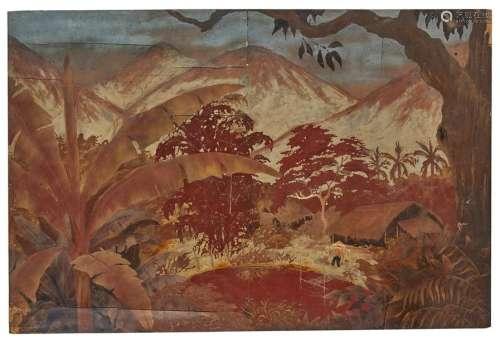 VIETNAM, XXe siècle Panneau en bois laqué rouge…