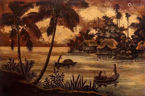 VIETNAM, XXe siècle Laque dorée sur fond rouge …
