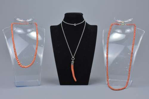 Three Antique Coral Necklaces