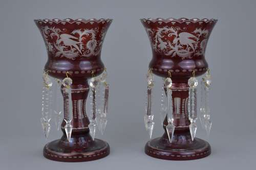 A pair of antique bohemian glass lustre vases