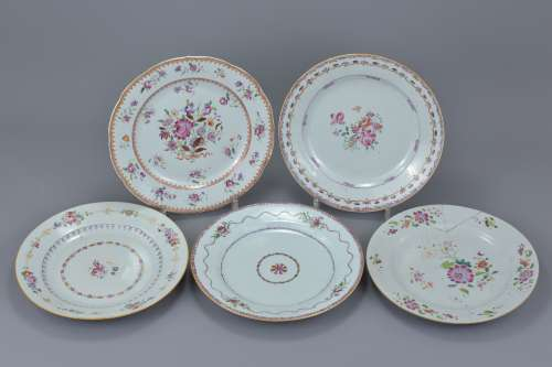 Five Chinese 18th C. Famille rose porcelain dishes