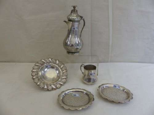 A coffee pot, a milk jug and 3 saucers in ottoman …