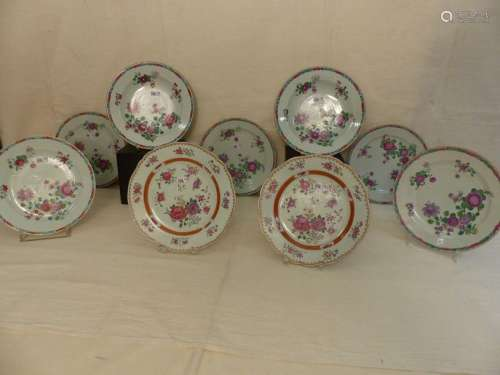 A series of 9 different Chinese porcelain plates. …