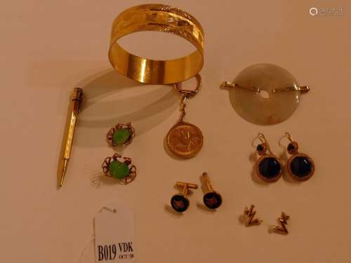 Lot of 18K yellow gold jewels: a bracelet (41gr), …