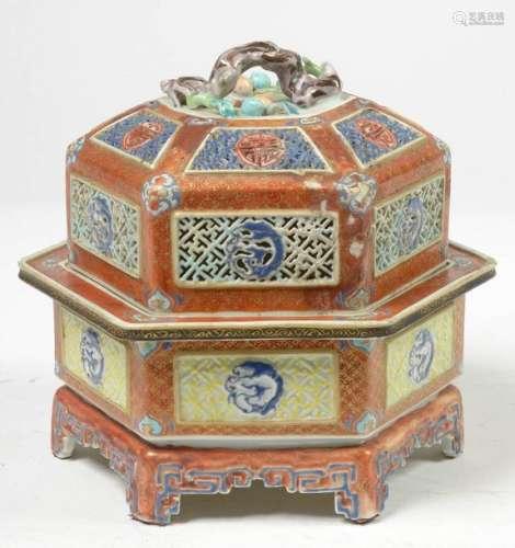 Brûle parfum hexagonal en porcelaine polychrome de…