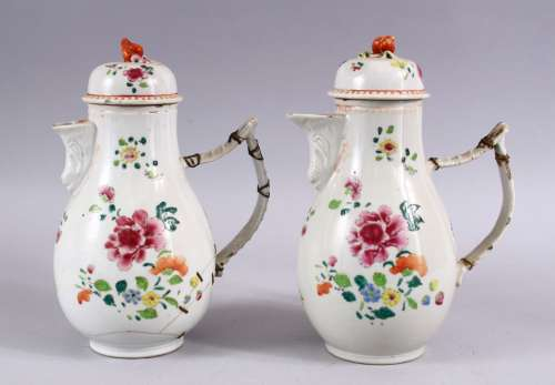 A PAIR OF 18TH CENTURY CHINESE FAMILLE ROSE PORCELAIN COFFEE POTS & COVERS, both decorated with